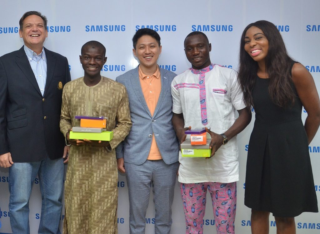 """L-R: Director and Business Leader, Information Technology and Mobile, Samsung Electronics West Africa, Mr. Emmanouil Revmatas; Winner, Samsung """"Inspire Bigger Dreams"""" contest, Ibrahim Salihu; Manager, Product Marketing, Samsung Electronics West Africa, Mr. Chaejin Im; Winner, Samsung """"Inspire Bigger Dreams"""" contest, Ibrahim Ambali and Operator/Mobile Communications And Activations Specialist, Samsung Electronics West Africa, Ms. Nkem Odini during the presentation of Samsung mobile devices to winners of its just concluded campaign at Samsung Offices, VI…5/19/2016"""