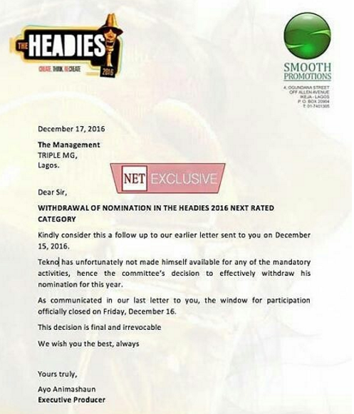 Why Tekno Headies 'Next Rated' Nomination Was Withdrawn