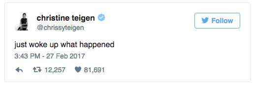 Chrissy Teigen tweet for Oscar 2017 dose off