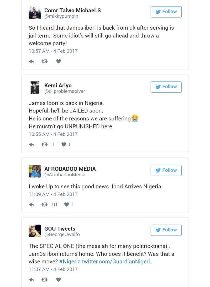 Twitter Reactions as Ibori Arrives Nigeria