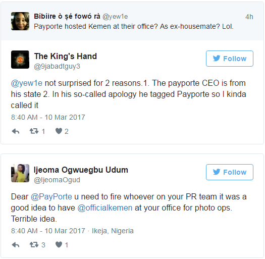Nigerian blasts payporte for hosting kemen with other housemates