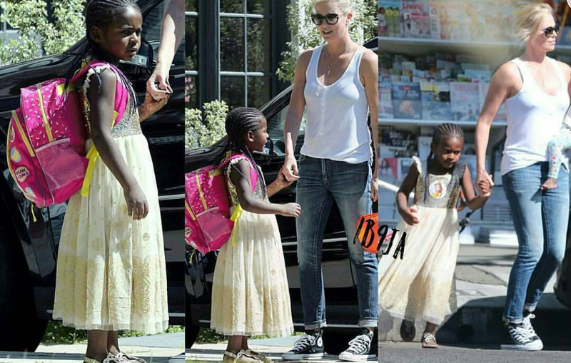 Hollywood Actress Charlize Theron and his 5 year old adopted son