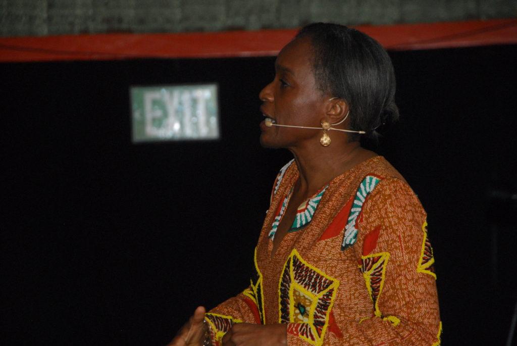Former ICT Minister, Omobola Johnson speaking at the event-tedxyaba2017-OLORISUPERGAL
