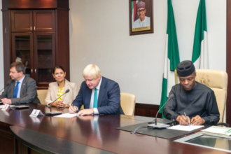 Yemi Osinbajo receives Boris Johnson and Priti Patel - OLORISUPERGAL