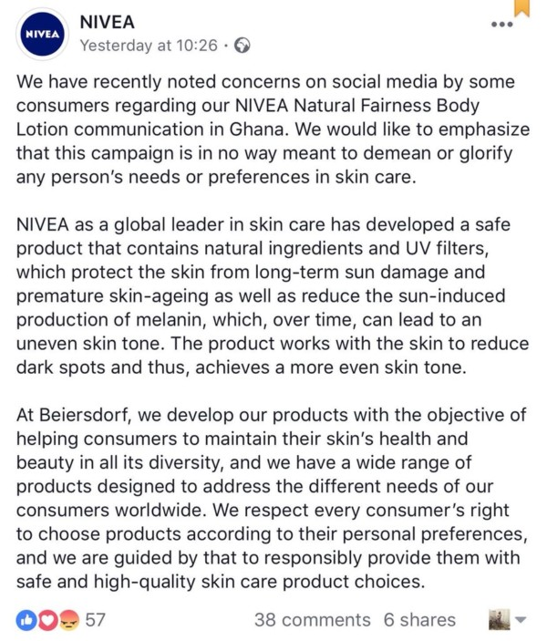 Nivea reply to advert - OLORISUPERGAL