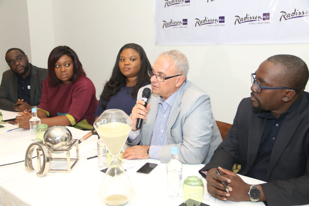 L-R: Executive Director, Avalon Intercontinental Nigeria Limited, Kazeem Tajudeen; Managing Partner,AT3 Resources, Tosin Adefeko; Director Legal, Avalon Intercontinental Nigeria Limited, Olaitan Tajudeen; General Manager, Radisson Blu Hotel Lagos Ikeja, George Balassis; and Director of Projects Avalon Intercontinental Nigeria Limited, Ahmed Tajudeen, at the press conference announcing the partnership between Radisson Blu and Avalon Intercontinental Nigeria Limited.