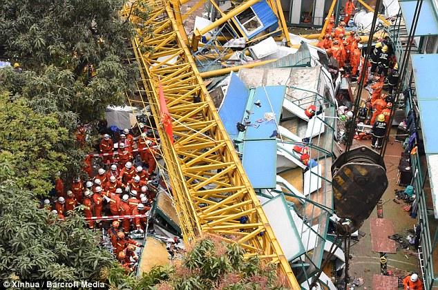 Crane collapses on construction site