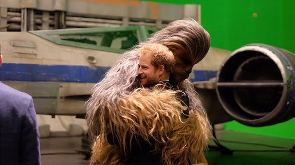 Prince Harry hugging Chewie