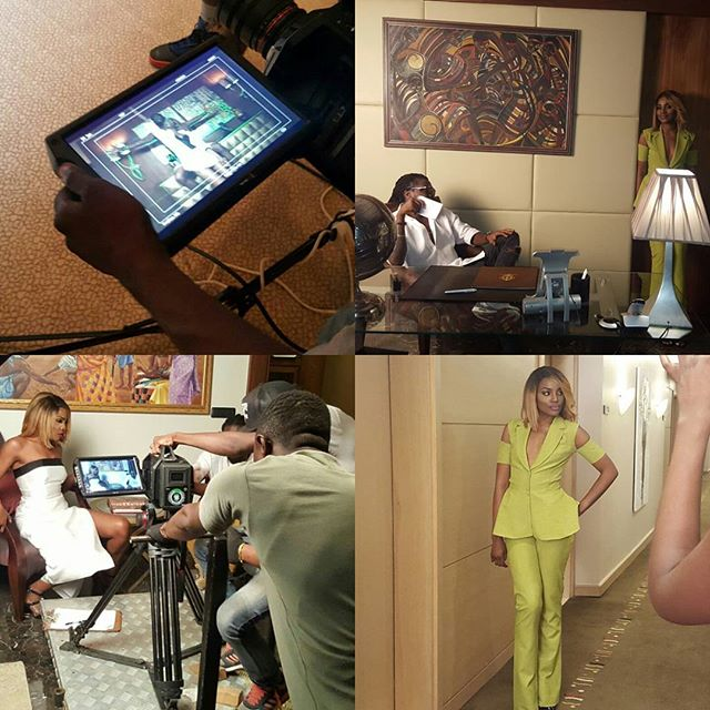 SEYI SHAY ON SET IN ACCRA